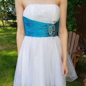 Stunning White & Blue Sash Homecoming/Prom Dress